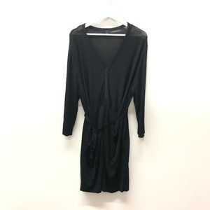 COS Draped Mini Dress With Tie Waist and Zipper Front Black